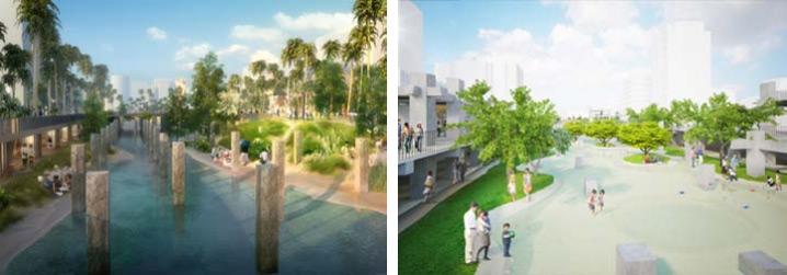 露天水景中保留原中國城 遺構柱列,未來將成為市 區最大親水景觀廣場