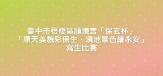 臺中市梧棲區順境宮「保玄杯」「順天美貌彩保生・境地景色繪永安」寫生比賽