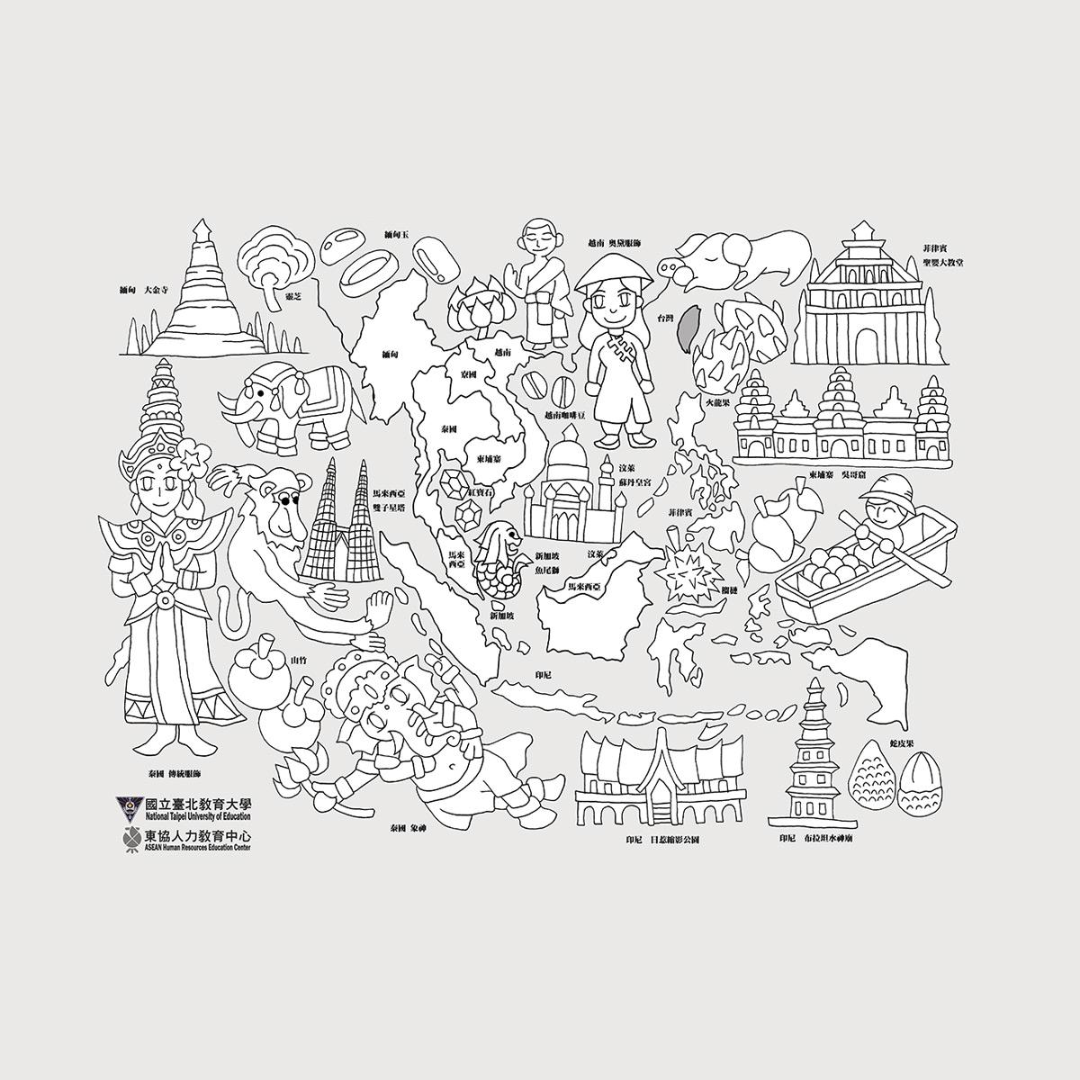 2020東南亞地圖著色比賽-著色競賽繪圖原稿