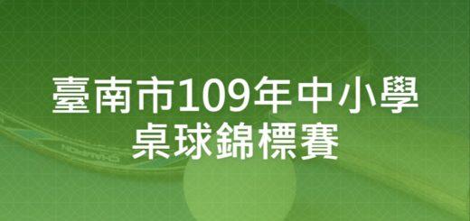 臺南市109年中小學桌球錦標賽