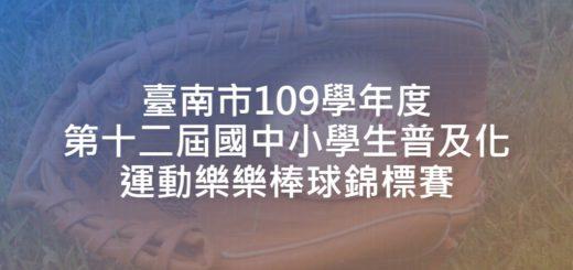 臺南市109學年度第十二屆國中小學生普及化運動樂樂棒球錦標賽