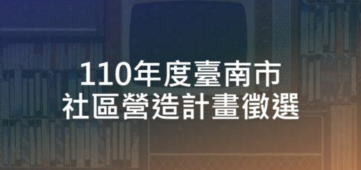 110年度臺南市社區營造計畫徵選